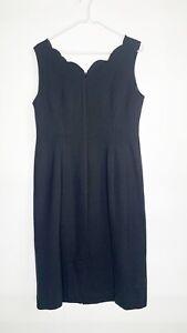 Talbots Women's 8 Ponte Knit Dress Scallop Sleeveless Midi