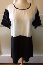LOLA & HARPER Black White Colour Block Faux Leather Cutout Sleeve Mini Dress XS