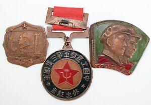 Three Antique Pinback Medals Soviet Russia China Vietnam Korea 2 are Enameled