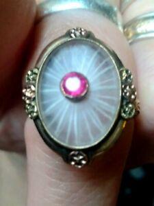 1930s Victorian 14k Gold Starburst Ruby  Ring