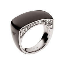 Emporio Armani Ladies Ring Size 8 U.K P Steel Black & Zirconia EGS1646001 New