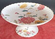 assiette montée compotier  faience E.Bourgeois decor floral (1)