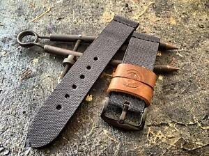 waxed canvas handmade watch strap