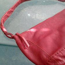 The Sak Genuine Red Pebble Grain Leather Hobo Shoulder Bag Purse Tote