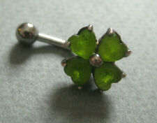 4 Leaf Clover green glass bar Navel Ring piercing jewelry Sterling Silver