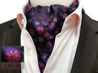 Foulard Viola Blu Nere Arancio Bianco Rosso Misto Seta Matrimonio Cravatta Ascot