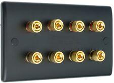 4.0 MATT BLACK Audio Speaker Wall Face Plate 8 GOLD Binding Post BANANA PLUG