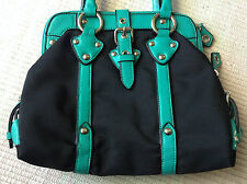 Frangi Black & Turquoise Handbag Silver Zip Studs Buckles Canvas Faux Leather