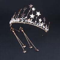 Star Wedding Bridal Queen Tiara Crown Princess Hair Accessories With Earrings