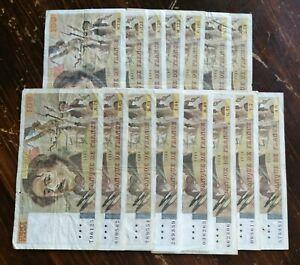 FRANCE:  LOT de 15 billets 100 Francs DELACROIX (entre 1978 et 1988)
