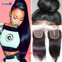 "4*4 Lace Frontal Closure Straight Human Hair Free Part 8-20"" Virgin Hair New"