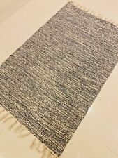 Denim Blue Grey Eco Friendly Cotton Rich Washable Reversible Durrie Rugs 60x90cm