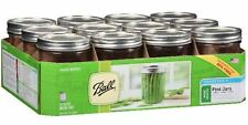 Ball Wide Mouth Glass Canning Mason Pint Jars, 16 Oz, 12 count, Lids, Bands