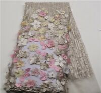 Eseosa Beige African Lace Fabric 3D Flowers Beaded French Tulle 1yard Quality