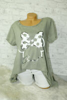 Italy T-Shirt Mickey Mouse Gr.36 38 40 42 Shirt Oversized Long Puder Khaki