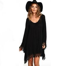 Casual Womens Lady Black Long Sleeve Tassels Loose Evening Party Mini Dress New
