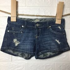 Almost Famous Women's Shorts Stretch Denim Distressed Juniors Cut Off Size 1