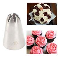 #1B Große Rose Blume Creme Zuckerglasur-friedliche Düse Edelstahl Gebäck Tipp
