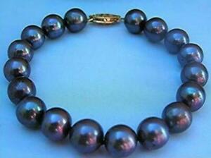 "charming AAA 10-11mm Tahitian Natural South Sea Black Pearl Bracelet 14k 7.5 -8"""