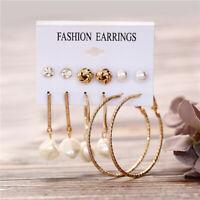 6 Pairs Boho Shell Crystal Pearl Earrings Set Women Ear Stud Dangle Jewelry Gift