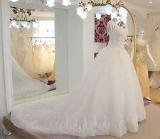 White/Ivory Wedding Dress Bridal Gown Lace Long Train Bead Custom Size Plus Size