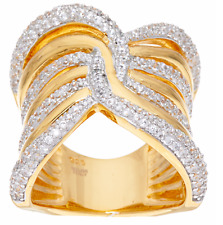 VICENZA SILVER 18K GOLD-PLATED WIDE POLISHED CRYSTAL BAND RING SIZE 10 QVC $104