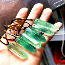1pcs Natural Green Fluorite Quartz Crystal Wand Pendant Necklace