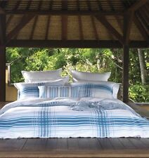 Linen House King Bed Quilt Cover Set Euros Shoreham blue white beach Greek theme