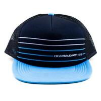 Mens Simple Jack Trucker Cap in Black and Blue From Ocean and Earth