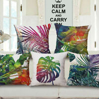 "18"" Home Cotton Linen Car Bed Sofa Throw Square Pillow Case Cover Tropical Plant"