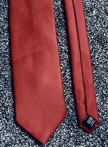 """Marks and Spencer red striped 100% silk smart classic tie 3.5"""" wide 57"""" long"""