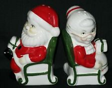 Vintage Santa & Mrs Claus Salt & Pepper Shakers Sitting in Chairs with Presents