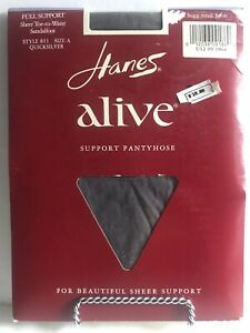 Hanes Alive 811 Size A Quicksilver Pantyhose Full Sheer Support Control Top NEW