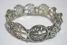 Lovely elasticated bracelet silver tone metal links trees design