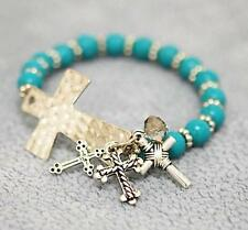 Turquoise Hammered Cross Charms Stretch Bracelet