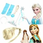 Frozen Princess Elsa Anna Gloves Tiara Crown Braid Wig Hair Wand Kid wholesaleO9
