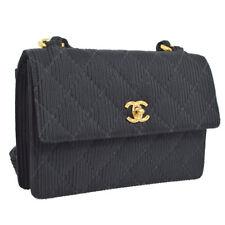 25421a9a45e79e Auth CHANEL Quilted CC Cross Body Shoulder Bag Black Velvet Satin VTG  AK23986