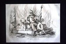 Incisione d'allegoria e satira Ferdinando II di Borbone Don Pirlone 1851