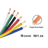 18 Gauge Flex Primary Wire Kit Hookup Pure Copper AWG Amp Cable 15FT EA 6 Colors