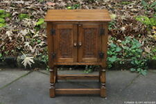 A JAYCEE OLD CHARM OAK PEDESTAL CABINET PHONE LAMP BEDSIDE TABLE COFFEE STAND
