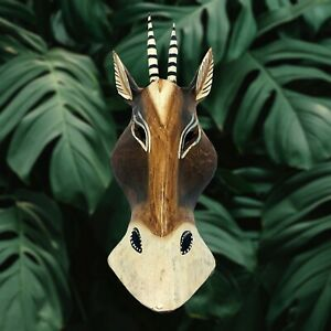 Antelope Wooden Mask Hand Carved African Safari Jungle Wall Art Hanging 10 inch