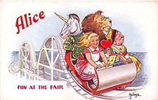 "Disney ""Alice in Wonderland"" Series Roller Coaster Signed Mendoza Postcard"