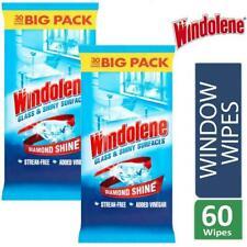 Windolene Glass & Shiny Surfaces Wipes 2x30 = 60 Wipes Streak Free Added Vinegar