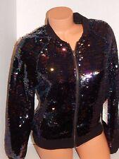 VICTORIA'S SECRET Fashion Show Black Sequin Bling Bomber Jacket Med