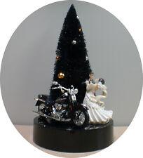 Halloween Wedding Cake Topper Groom top w/ harley davidson motorcycle PICK color