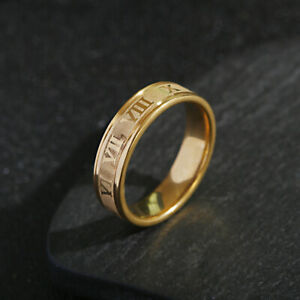 6mm 316L Stainless Steel Roman Numerals Black Cool Punk Ring Men Fashion Jewelry