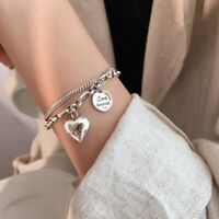 925 Silver Love Forever Heart Bracelet Chain Double Layer Bangle Women Jewelry