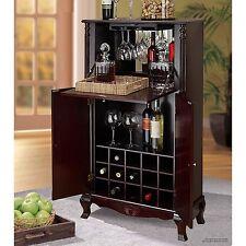 Bar Cabinet Wood Wine Rack Storage Shelves Stemware 15 Bottle Wooden Furniture