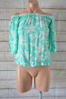 Jeanswest Off Shoulder Top Blouse Size 8 Green Blue White Floral