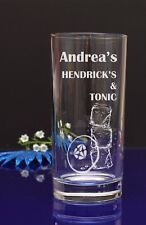 Personalised Engraved HENDRICK'S & TONIC Hiball mixer glass /Present by jevge 26